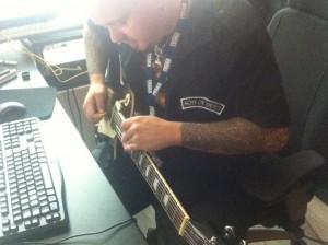 Guitar sliding like a mad man